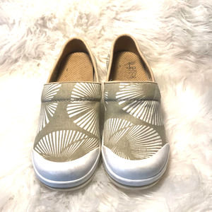 Dansko Vegan Sanibel Volley Canvas Mules Tan